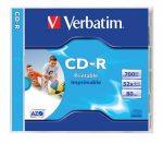 VERBATIM CD-R lemez, nyomtatható, matt, ID, AZO, 700MB, 52x, normál tok, VERBATIM