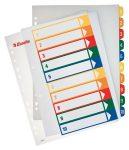 ESSELTE Regiszter, műanyag, A4 Maxi, 1-10, nyomtatható, ESSELTE, áttetsző