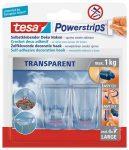 """TESA Műanyag akasztó ragasztócsíkkal, TESA """"Powerstrips®"""", átlátszó"""