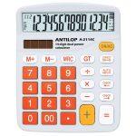 Számológép asztali 14 számjegy nagy, döntött kijelző narancs gombok fehér számlap ANTILOP A-2114C