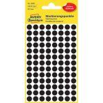 Etikett címke, jelölésre o8 mm, 104 címke/ív, 4 ív/doboz, Avery fekete