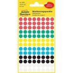 Etikett címke, jelölésre o8 mm,6 klf. Szín 104 címke/ív, 4 ív/doboz, Avery vegyes
