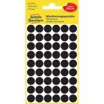 Etikett címke, jelölésre o12 mm, 54 címke/ív, 5 ív/doboz, Avery fekete