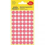 Etikett címke, jelölésre o12 mm, neon54 címke/ív, 5 ív/doboz, Avery piros