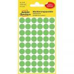 Etikett címke, jelölésre o12 mm, világos 54 címke/ív, 5 ív/doboz, Avery zöld