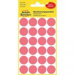 Etikett címke, jelölésre o18 mm, neon 24 címke/ív, 4 ív/doboz, Avery piros