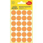 Etikett címke, jelölésre o18 mm, neon 24 címke/ív, 4 ív/doboz, Avery narancssárga