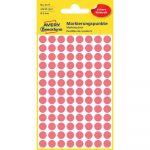 Etikett címke, jelölésre o8 mm,neon 104 címke/ív, 4 ív/doboz, Avery piros