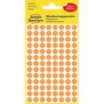 Etikett címke, jelölésre o8 mm,neon 104 címke/ív, 4 ív/doboz, Avery narancssárga