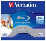 VERBATIM BD-R BluRay lemez, kétrétegű, nyomtatható, 50GB, 6x, 1 db, normál tok, VERBATIM