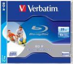 VERBATIM BD-R BluRay lemez, nyomtatható, 25GB, 6x, 1 db, normál tok, VERBATIM