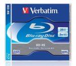 VERBATIM BD-RE BluRay lemez, újraírható, 25GB, 1-2x, 1 db, normál tok, VERBATIM