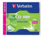 VERBATIM CD-RW lemez, újraírható, SERL, 700MB, 8-12x, 1 db, normál tok, VERBATIM