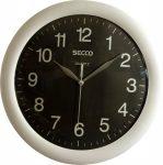 "SECCO Falióra, 30 cm, SECCO ""Sweep Second"", ezüst/fekete"