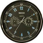 SECCO Falióra, 30,5 cm, páratartalom mérővel, hőmérővel SECCO, króm színű