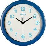 """SECCO Falióra, 28,5 cm,  kék keretes, kék számokkal, SECCO """"Sweep second"""""""