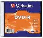 VERBATIM DVD-R lemez, AZO, 4,7GB, 16x, 1 db, vékony tok, VERBATIM