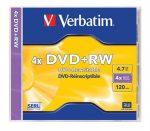 VERBATIM DVD+RW lemez, újraírható, 4,7GB, 4x, normál tok, VERBATIM