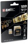 """EMTEC Memóriakártya, microSDXC, 128GB, UHS-I/U3/V30/A2, 100/95 MB/s, adapter, EMTEC """"SpeedIN"""""""