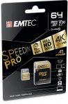 """EMTEC Memóriakártya, microSDXC, 64GB, UHS-I/U3/V30/A2, 100/95 MB/s, adapter, EMTEC """"SpeedIN"""""""