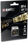 "EMTEC Memóriakártya, SDXC, 64GB, UHS-I/U3/V30, 95/85 MB/s, EMTEC ""SpeedIN"""