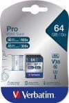 "VERBATIM Memóriakártya, SDXC, 64GB, CL10/U3, 90/45MB/sec, VERBATIM ""PRO"""