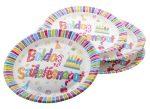""". Tányér, papír, 23 cm, """"Boldog születésnapot"""""""