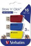 """VERBATIM Pendrive, 3 x 16GB, USB 3.2, 80/25MB/sec, VERBATIM """"Store n Click"""", piros, kék, sárga"""