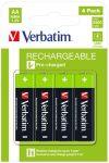 VERBATIM Tölthető elem, AA ceruza, 4x2500 mAh, VERBATIM
