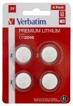 """VERBATIM Gombelem, CR2016, 4 db, VERBATIM """"Premium"""""""