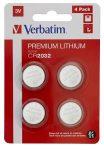 """VERBATIM Gombelem, CR2032, 4 db, VERBATIM """"Premium"""""""