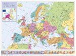STIEFEL Falitérkép, 70x100 cm, fémléces, Európa országai és az Európai Unió, STIEFEL